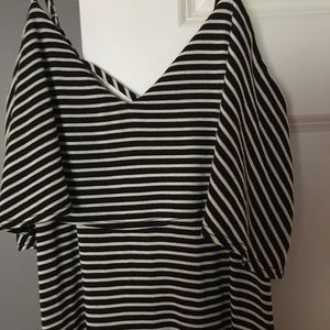 Anthropologie Black Striped Maxi Dress